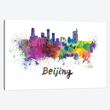 Beijing Skyline In Watercolor Canvas Print #PUR84} by Paul Rommer Canvas Print