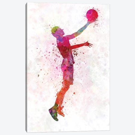 Young Man Basketball Player I Canvas Print #PUR853} by Paul Rommer Art Print