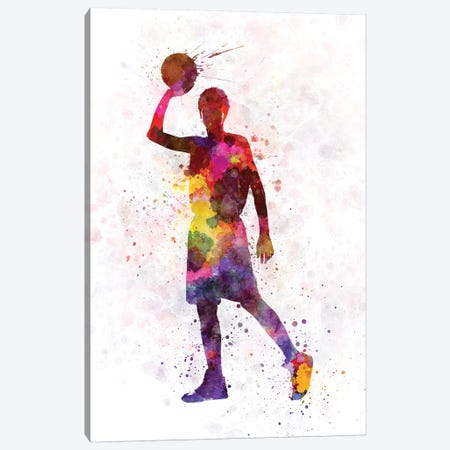 Young Man Basketball Player II 3-Piece Canvas #PUR854} by Paul Rommer Canvas Wall Art