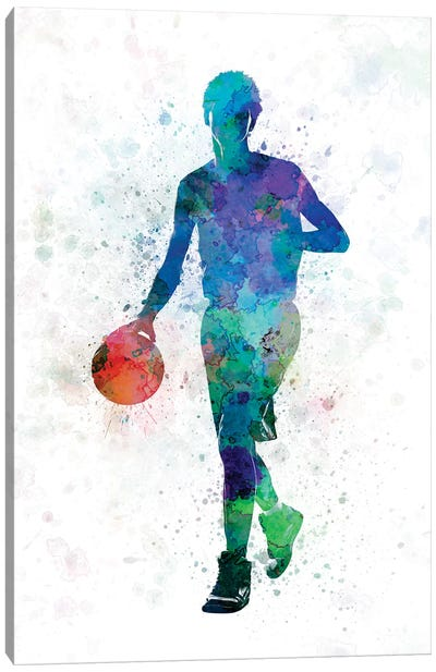Young Man Basketball Player Dribbling Canvas Art Print