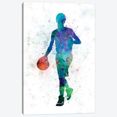 Young Man Basketball Player Dribbling 3-Piece Canvas #PUR855} by Paul Rommer Canvas Artwork