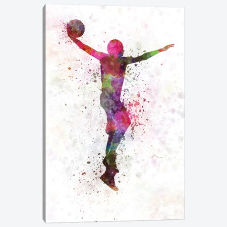Young Man Basketball Player Dunking I Canvas Print #PUR856} by Paul Rommer Canvas Artwork