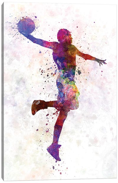 Young Man Basketball Player One Hand Slam Dunk Canvas Art Print