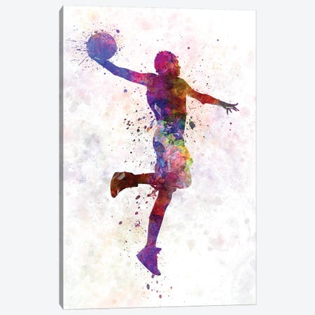Young Man Basketball Player One Hand Slam Dunk Canvas Print #PUR858} by Paul Rommer Art Print