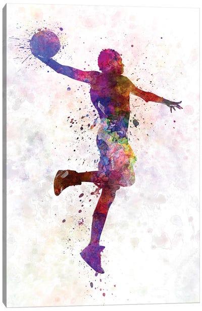 Young Man Basketball Player One Hand Slam Dunk Canvas Art Print