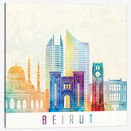 Beirut Landmarks Watercolor Poster Canvas Print #PUR85} by Paul Rommer Canvas Print