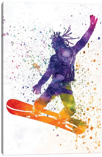 Young Snowboarder Man In Watercolor I Canvas Art Print