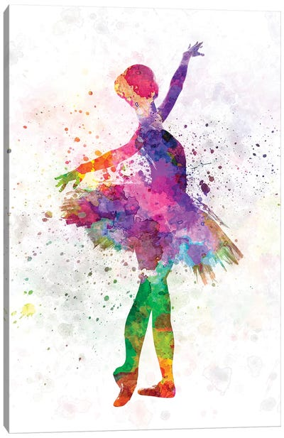 Young Woman Ballerina Ballet Dancer Dancing With Tutu Canvas Art Print