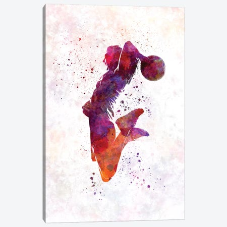 Young Woman Basketball Player In Watercolor I Canvas Print #PUR863} by Paul Rommer Canvas Artwork