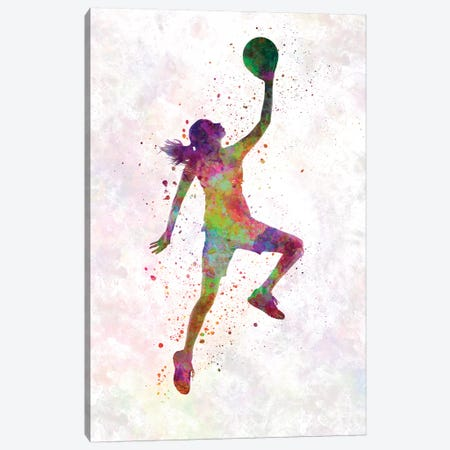 Young Woman Basketball Player In Watercolor II Canvas Print #PUR864} by Paul Rommer Canvas Print