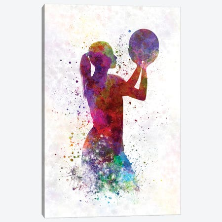 Young Woman Basketball Player In Watercolor III Canvas Print #PUR865} by Paul Rommer Canvas Art Print
