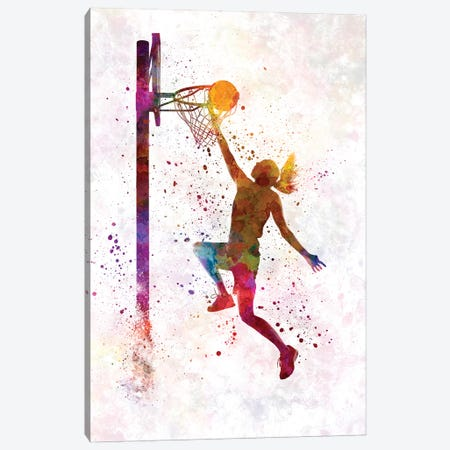 Young Woman Basketball Player In Watercolor IV 3-Piece Canvas #PUR866} by Paul Rommer Art Print