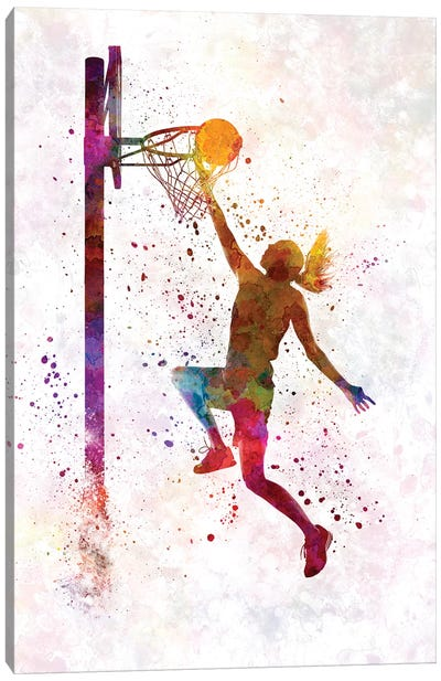Young Woman Basketball Player In Watercolor IV Canvas Art Print