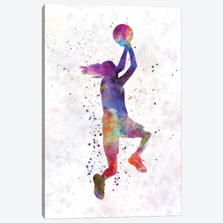 Young Woman Basketball Player In Watercolor V Canvas Print #PUR867} by Paul Rommer Art Print