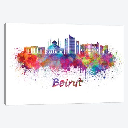 Beirut Skyline In Watercolor Canvas Print #PUR86} by Paul Rommer Art Print