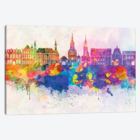 Aachen Skyline In Watercolor Background Canvas Print #PUR876} by Paul Rommer Canvas Artwork