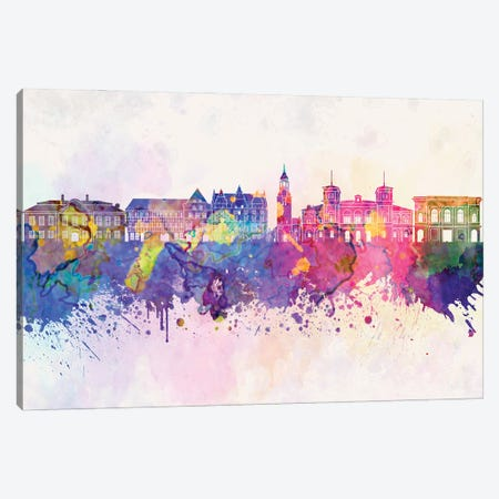 Aalborg Skyline In Watercolor Background Canvas Print #PUR877} by Paul Rommer Canvas Art