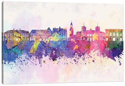 Aalborg Skyline In Watercolor Background Canvas Art Print