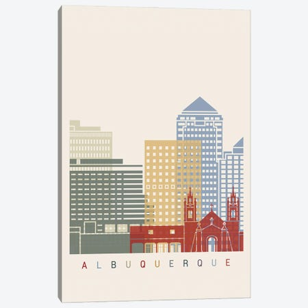 Albuquerque Skyline Poster Canvas Print #PUR886} by Paul Rommer Canvas Print