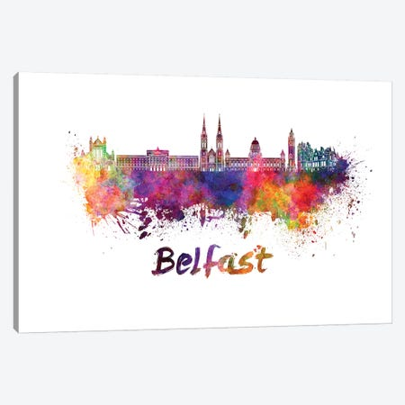 Belfast Skyline In Watercolor Canvas Print #PUR88} by Paul Rommer Canvas Artwork