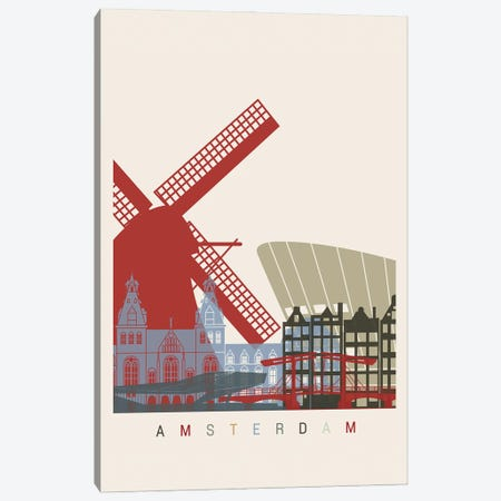 Amsterdam Skyline Poster Canvas Print #PUR893} by Paul Rommer Canvas Art Print