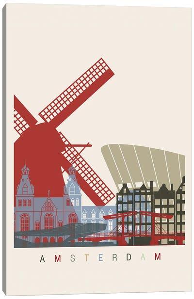 Amsterdam Skyline Poster Canvas Art Print
