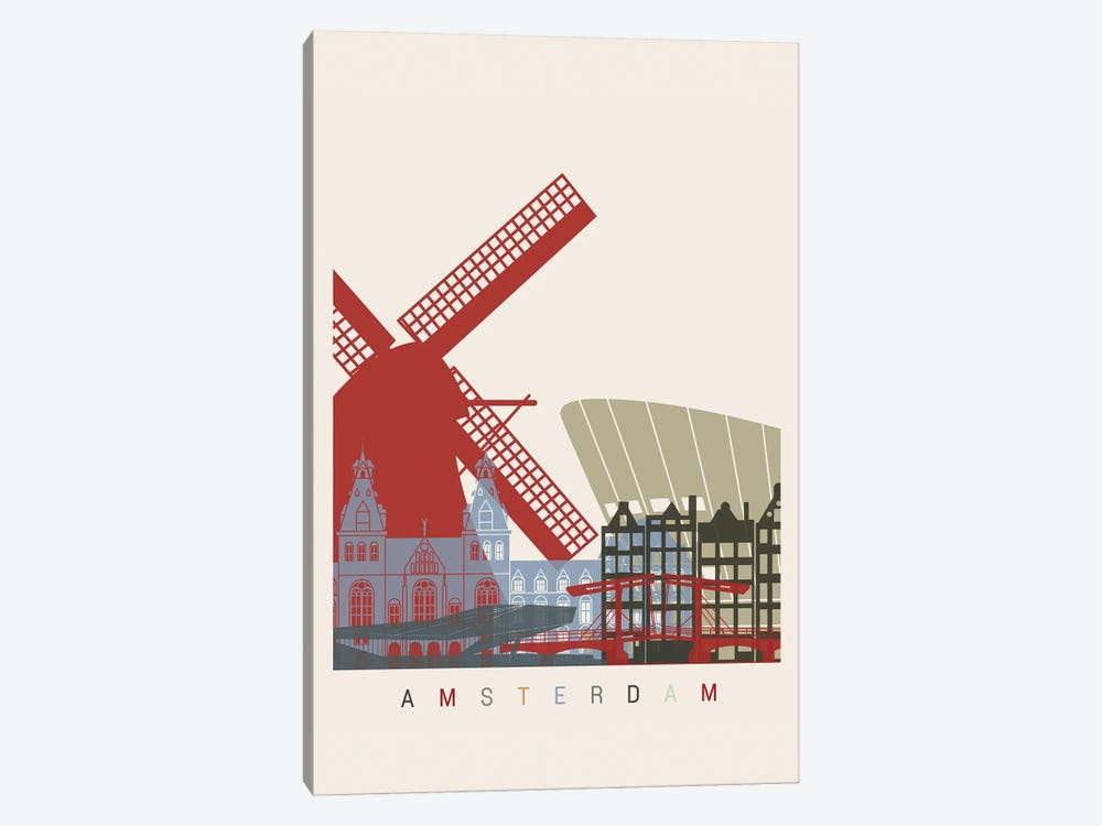 Amsterdam Skyline Poster by Paul Rommer 1-piece Canvas Art