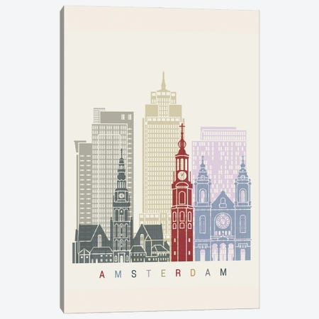 Amsterdam II Skyline Poster Canvas Print #PUR894} by Paul Rommer Canvas Artwork