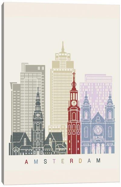 Amsterdam II Skyline Poster Canvas Art Print