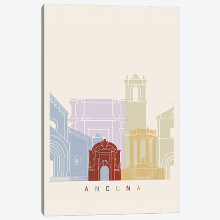 Ancona Skyline Poster Canvas Print #PUR895} by Paul Rommer Canvas Art