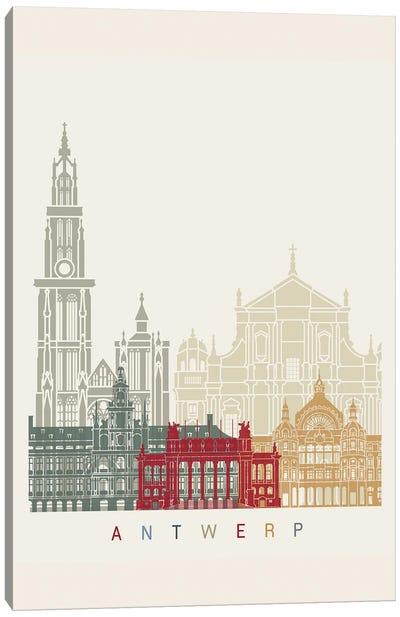 Antwerp Skyline Poster Canvas Art Print