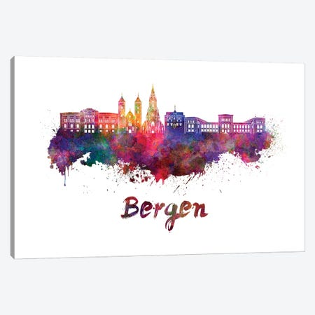 Bergen Skyline In Watercolor Canvas Print #PUR89} by Paul Rommer Canvas Artwork
