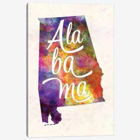 Alabama US State In Watercolor Text Cut Out Canvas Print #PUR8} by Paul Rommer Canvas Art