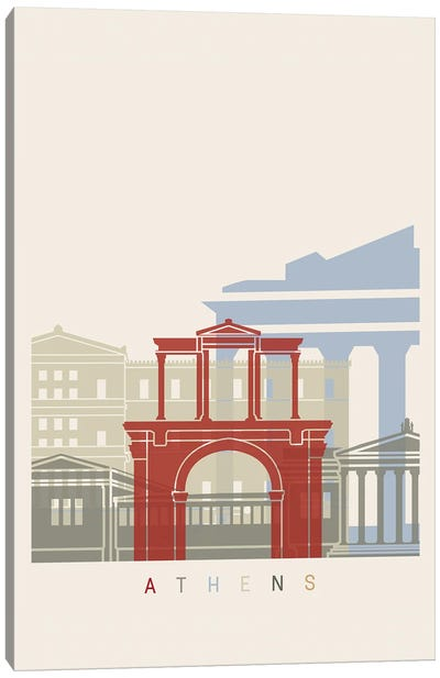 Athens Skyline Poster Canvas Art Print