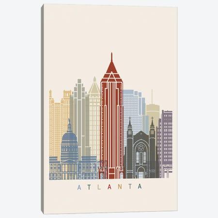Atlanta Skyline Poster Canvas Print #PUR905} by Paul Rommer Canvas Artwork