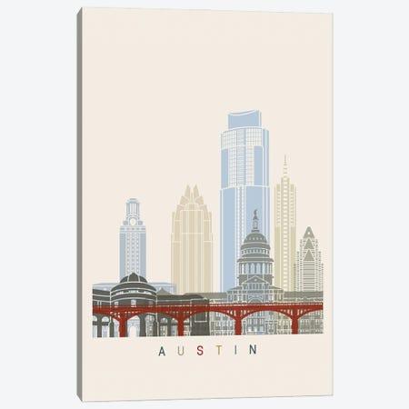 Austin Skyline Poster Canvas Print #PUR906} by Paul Rommer Canvas Artwork