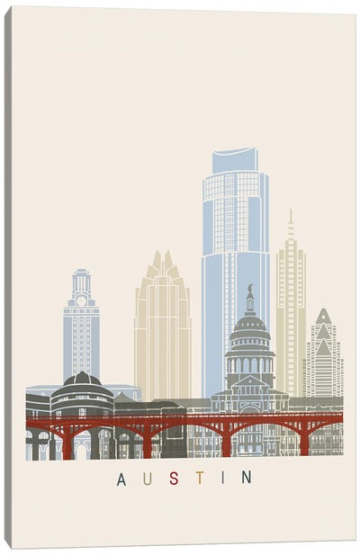 Austin Skyline Poster Canvas Art Print