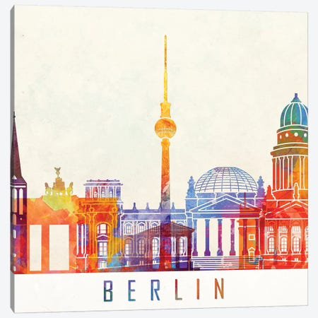 Berlin Landmarks Watercolor Poster 3-Piece Canvas #PUR90} by Paul Rommer Canvas Print