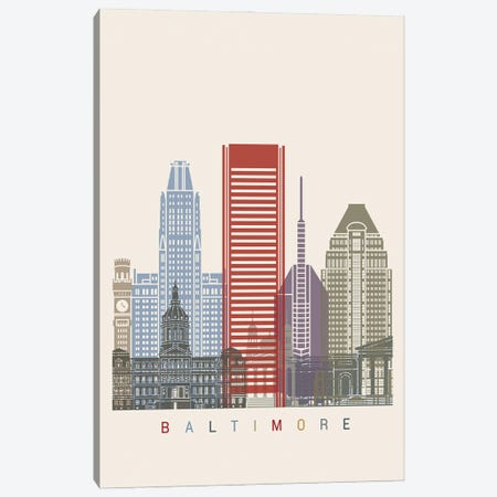 Baltimore Skyline Poster Canvas Print #PUR910} by Paul Rommer Canvas Wall Art