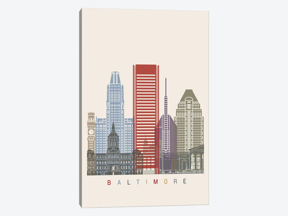 Baltimore Skyline Poster by Paul Rommer 1-piece Canvas Art