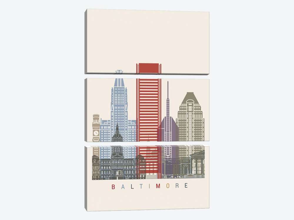 Baltimore Skyline Poster by Paul Rommer 3-piece Canvas Artwork