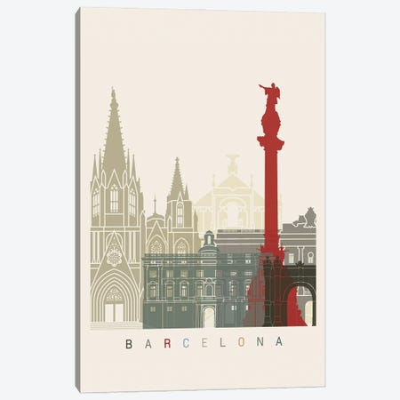 Barcelona Skyline Poster Canvas Print #PUR911} by Paul Rommer Canvas Art
