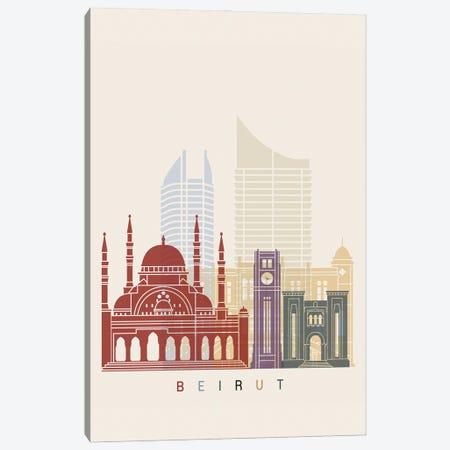 Beirut Skyline Poster Canvas Print #PUR913} by Paul Rommer Canvas Artwork