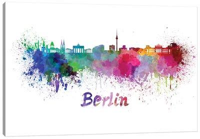 Berlin Skyline In Watercolor Canvas Art Print