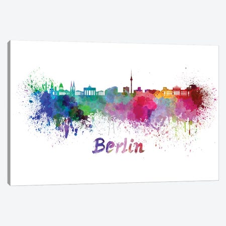 Berlin Skyline In Watercolor 3-Piece Canvas #PUR91} by Paul Rommer Canvas Print