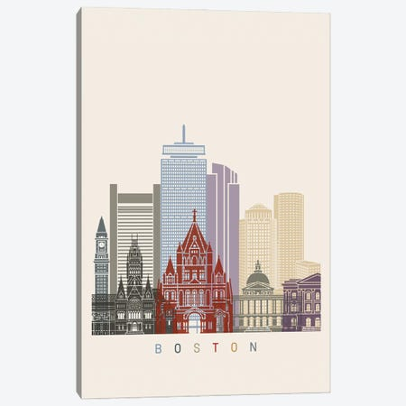 Boston Skyline Poster Canvas Print #PUR927} by Paul Rommer Canvas Artwork