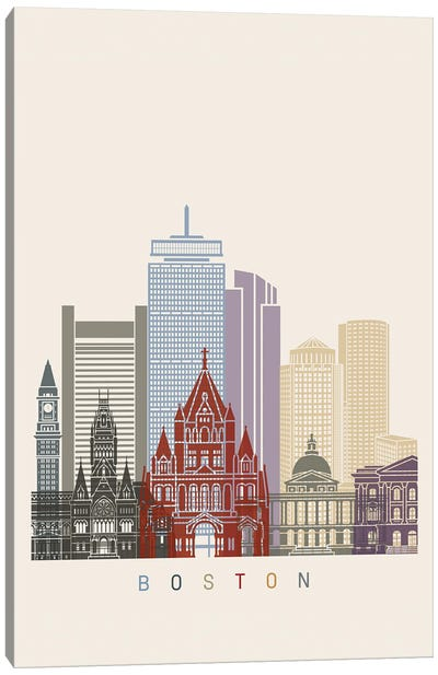 Boston Skyline Poster Canvas Art Print
