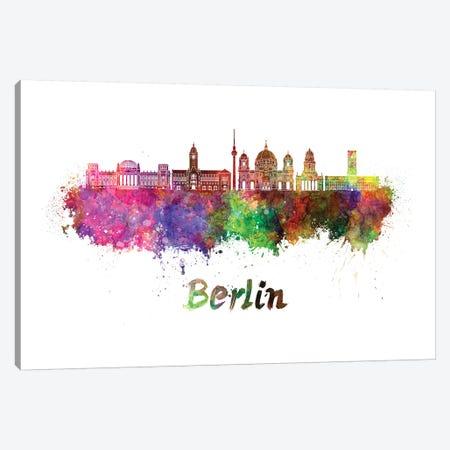 Berlin Skyline In Watercolor II 3-Piece Canvas #PUR92} by Paul Rommer Canvas Art Print