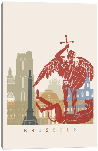 Brussels Skyline Poster Canvas Art Print