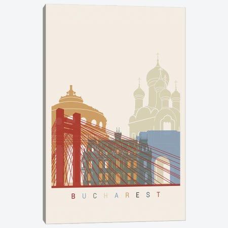 Bucharest Skyline Poster Canvas Print #PUR936} by Paul Rommer Canvas Art Print